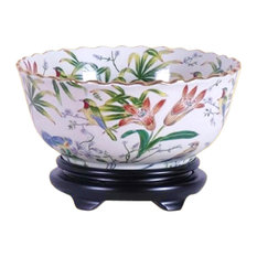 """Chinese Multi Color Floral Bird Pattern Porcelain Bowl With Base 14"""""""
