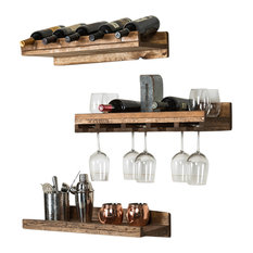 Rustic Luxe Tiered Wine Racks, Set of 3, Walnut