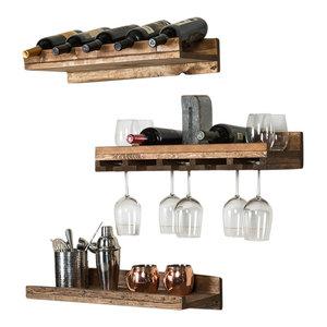 Rustic Luxe Tiered Wine Racks, Set of 3, Walnut
