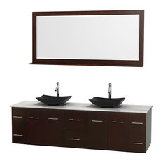 "Centra 80"" Espresso Double Bathroom Vanity Carrera Marble Top, Arista Black Gran"