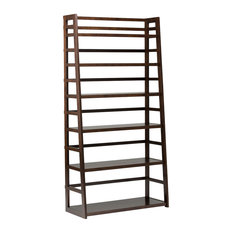 Acadian Solid Wood 72-inch X 36-inch Rustic Wide Ladder Shelf Bookcase Tobacco Brown