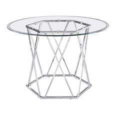 Steve Silver Escondido Chrome and Glass Top Dining Table
