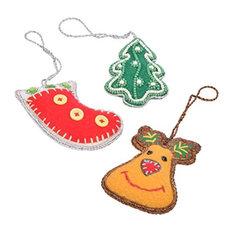 StoreIndya - Decorative Hanging Ornament Tree Decoration, Design 5, 3-Piece Set - Christmas Ornaments