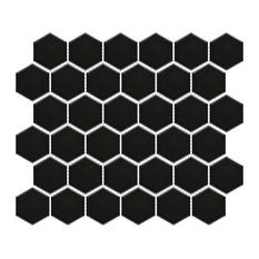 """SomerTile Metro Hex 2"""" Mosaic Floor and Wall Tile, Case of 10, Matte Black"""