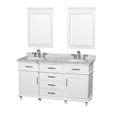 "Wyndham Collection 60"" Berkeley White Double Vanity and Carrera Marble Top"