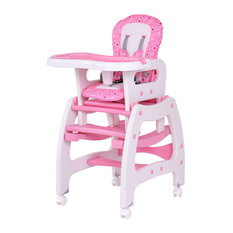 Costway 3 in 1 Baby High Chair Convertible Table Seat Booster Feeding Tray Pink
