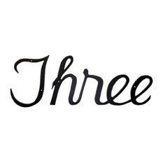 """Aluminum Script House Number, Three, 15""""x5.25"""""""