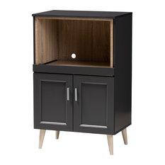 Tobias Dark Gray and Oak Brown Kitchen Cabinet