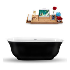 "70"" Black Freestanding Tub and Tray With Internal Drain, Oval Shaped"