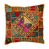Boho Patchwork Cushion, Rust, Cover Only