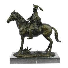 Rare Remington Tribute Hot Cast Cowboy With Riffle On Horse Bronze Sculpture Art