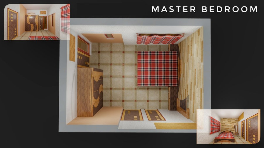 Masterbed room 3D Render Design with Plan