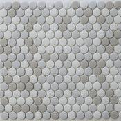 Vetro D'Terra Calacatta Penny Round Glass Mosaic Tiles, Sample