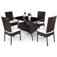 Costway 5 Piece Outdoor Patio Furniture Rattan Dining Table Cushioned Chair Set