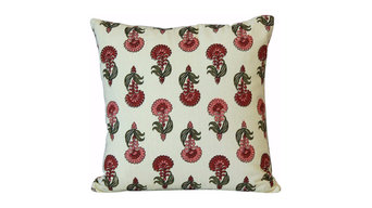 Pink Flower Cotton Throw Pillow Cover, 16x16