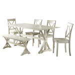 Boraam Industries Inc. - 6-Piece Jamestown Dining Set - Bring the 6-Piece Jamestown Dining Set into your home and add a farmhouse feel to the environment. The 6-Piece set includes our Jamestown Dining Table, Jamestown Bench, and four Jamestown Dining Chairs. It is available in our white wash finish and is constructed with MDF and solid wood. Comes ready to assemble with all tools and hardware in the box ready to go.