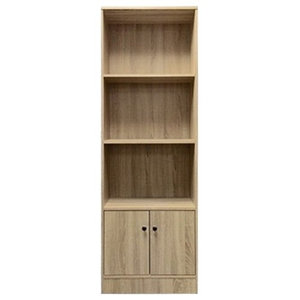 Traditional Bookcase, Sonoma Oak Finished MDF With 2-Door and 2 Open Shelves