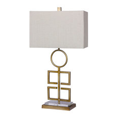 """29"""" Totemic Modern Cut-Out Antique Gold  Metal & Clear Acrylic Table Lamp"""