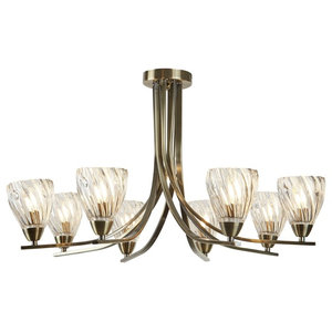 Ascona II 8-Light Semi Flush, Twisted Glass Shade, Antique Brass