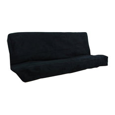 "Pemberly Row Solid Twill Full Size Futon Cover in Black -8"" Full"