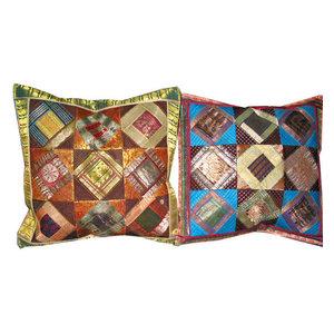 Mogul Interior - Silk Pillow Shams, Sari Patchwork Cushion Covers Toss Pillow, Set Of 2 - Pillowcases And Shams