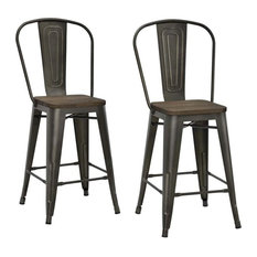 dhp luxor metal stools set of 2 antique copper counter height - Counter Stool Height