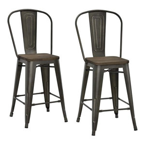Luxor Metal Stools, Set of 2, Antique Copper, Counter Height