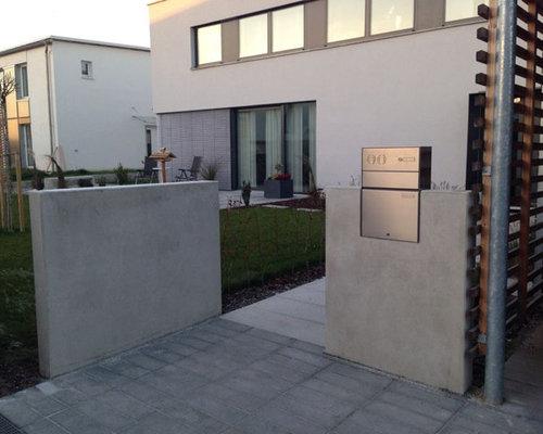 Sichtbeton Mauerscheiben Mit Gartent 252 R Und Briefkasten
