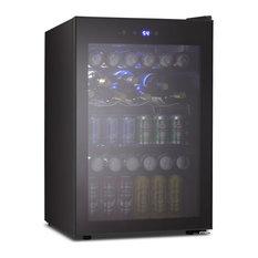 Beverage Fridge or Wine Cooler With Glass Door, 120 Can or 36 Bottles, Black