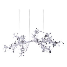 Smoke and Clear Crystal Branch Light Fixture With Clear Beaded Crystal Branches