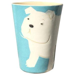 Turquoise Animal Cups, Bulldog, Set of 2
