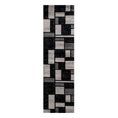 Toscana Geometric Gray Contemporary Area Rugs, 2'x8'