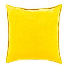 """Cotton Velvet Pillow, Mustard, Cover Only, 18"""""""
