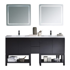 """Vanity Emmet 72"""" Double Sink Integrated Solid Surface Top, White, Metal Gray"""