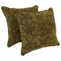 """25"""" Jacquard Chenille Square Floor Pillows Inserts, Set of 2 Floral Beige Damask"""