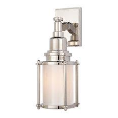 E.F. Chapman Stanway 1-Light Bath Light, Polished Nickel, White Glass