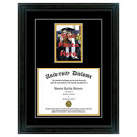 "Perfect Cases, Inc. - Single Diploma Frame with 5x7 Photo and Double Matting, Sport Black, 11""x14"" - Proudly display your achievement with our Single Diploma Frame and 5x7 photo. This frame comes with your choice of moulding and crystal clear glass protection and includes a cut out for a 5x7 photo. We have several hardwood moulding options that have beautiful finishes. This frame also comes with Black over Gold mat board colors.  Our last option is with our glass protection. We have standard clear glass and an upgraded Conservation Glass that provides museum quality 99% UV protection."
