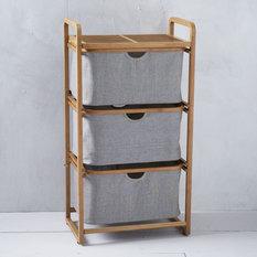- Bamboo Laundry - Triple Shelving Laundry Basket - Bathroom Cabinets
