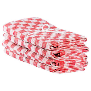 Axlings Chess Linen And Cotton Kitchen Towel, 2 Pack, Red and White