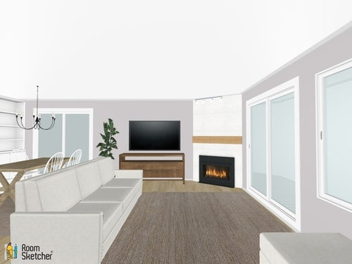 Living Room Layout Corner Fireplace Sliding Doors Open