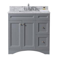 "Virtu Elise 36"" Single Bathroom Vanity, Gray With Marble Top And Square Sink"