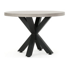 GDF Studio Carina Indoor Iron Pedestal Base, Light Weight Concrete Dining Table