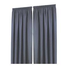 Dreamscene Pencil Pleat Blackout Curtains, Set of 2, Charcoal Grey, 137x117 Cm