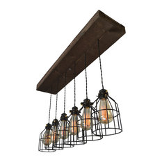 West Ninth Vintage Wood Pendant Chandelier