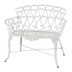Antique Victorian Cast Aluminum Patio Dining Loveseat/Bench, White Heart