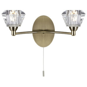 Sierra Antique Brass Switched Wall Light With Clear Glass Shade