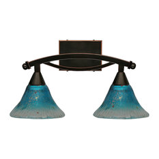 "Bow 2 Light Bath Bar In Black Copper, 7"" Teal Crystal Glass"