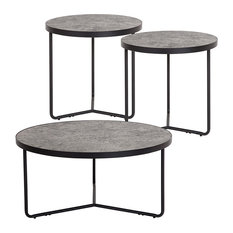 Offex  3 Piece Round Coffee And End Table Set In Concrete Finish