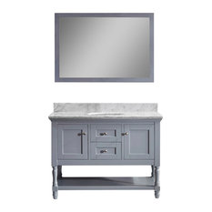 "Julianna 48"" Vanity, Gray, White Marble, Without Faucet, Round"