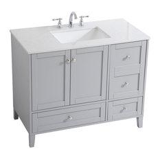 Elegant Decor Sommerville 42-inch Single Quartz Top Bathroom Vanity In Gray